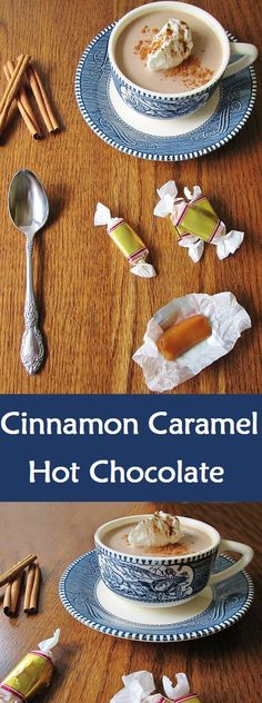 A perfect fall or winter treat to warm you up, this cinnamon caramel hot chocolate is decadent and sure to please. | Real Life at Home