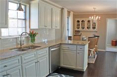 Nice idea with floating cabinets above eating area for more storage