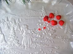Vintage Serving Plate Frosted Glass Christmas Plate Ruffled