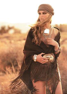 Fringed leather shawl