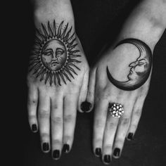 Moon and Son Hand Tattoo - 60 Eye-Catching Tattoos on Hand <3 <3