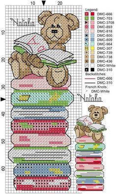 cross stitch bookmark - bear on stack of books