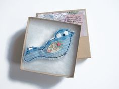 Birdy blue fabric brooch badge pin machine by maxollieandme, £6.50