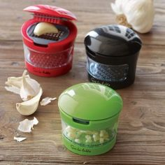 Garlic crusher. Always looking for a better way to mince some fresh garlic. I like the one tool I have, but I like that this can be used as a grater and stored as well.
