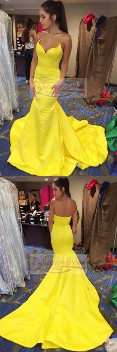 yellow evening dresses, gorgeous mermaid long evening dresses with train, formal evening dresses