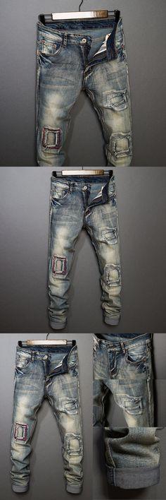 ITFABS Newest Arrivals Fashion Hot Men Denim Jean Skinny Biker Ripped Jean Fit Moto Fake Hole Jean Fit Pants Slim Street Jean