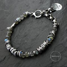 Sterling silver and labradorite - bracelet