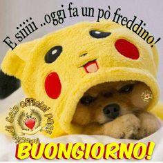 E siiiii... oggi fa un pò freddino! Buongiorno! #buongiorno pikachu divertenti