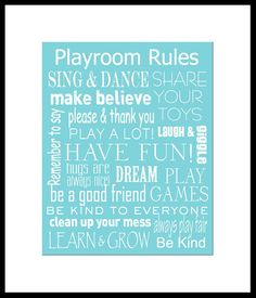Playroom Rules Subway Sign Art Typography Print  8x10 in an 11x14 white mat. $20.00, via Etsy.