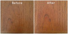 Caring for mid-century modern teak furniture. Before and After, ZoeAtHome.com