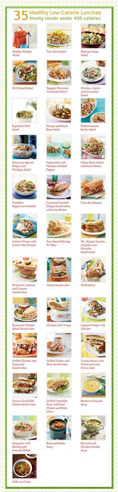 35 hearty meals under 400 calories: soups, salads and sandwiches. From the folks at Cooking Light.