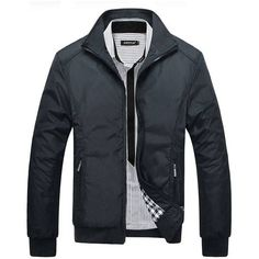 Mens Windproof Jacket Rib Knit Cuff Zipper Pocket Stand Collar Coat at Banggood