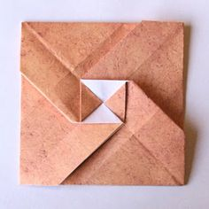 Origami letterfold with central square cross. Origami Envelope Easy, Origami Easy, Origami 2018, Modular Origami, Origami Folding, Paper Folding, Origami And Kirigami, Paper Crafts Origami, Origami Mouse