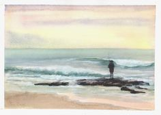 watercolour and gouache; Watercolours, Gouache, Watercolor Paintings, Wildlife, Waves, African, Birds, Outdoor, Outdoors