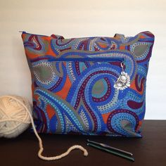 Large Blue Paisley Knitting Project Bag with Owl by OnTheDockKnits
