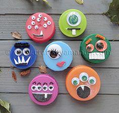 plastic lid monsters craft