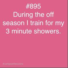 Traduction : « Durant la saison morte, je m'entraîne aux douches de trois minutes. »