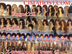 WE WHOLESALE AND RETAIL WIGS AT CIMAHOST.COM, TO ORDER JUST CALL 514-449-4821 OR 514 586 8262