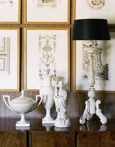 I love that the objects displayed echo the shapes and lines in the framed architectural drawings - Jean Louis Deniot