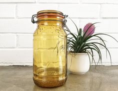 Vintage Amber Glass Mason Jar Canister by 6thAndDetroit on Etsy