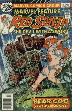 Red Sonja - Marvel Feature (July - Cover by Frank Thorne and John Romita Marvel Comic Books, Comic Book Characters, Comic Character, Comic Books Art, Marvel Comics, Marvel Dc, Red Sonja, Book Cover Art, Comic Book Covers