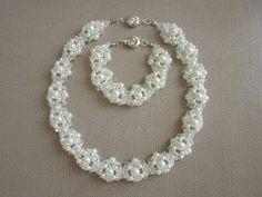 Wedding necklace and bracelet. Свадебное колье и браслет . Tutorial. - YouTube