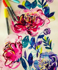 Continuing with the inky and Sharpie combination. Having so much fun painting again  #dailypainting #designer #textiledesign #floral #surtex #watercolor #dowhatmakesyouhappy