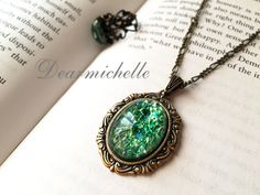 Victorian Vintage Green Fire Opal Necklace, Vintage Jewelry, Antique Bronze Emerald Fire Opal Pendant, Iridescent Necklace, Opal Jewelry
