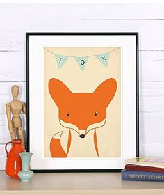 Nursery decor nursery poster nursery art print fox woodland animals for kids retro art print *** For more information, visit image link. Retro Kunst, Retro Art, Nursery Wall Decor, Nursery Art, Fennec, Minimal Art, Animal Art Prints, Unique Poster, Retro Poster