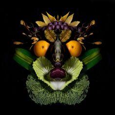 """""""Totem"""" by Carolina Amoretti #archimbold #arcimboldo #fruit #frutta #vegetables #verdura #black - Carefully selected by GORGONIA www.gorgonia.it"""