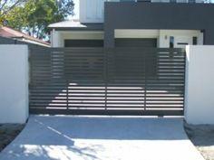 Aluminium sliding gate with aluminium slats Horizontal, powder coated Windspray.