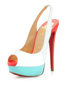 Lady Peep Slingback Red Sole Sandal, White by Christian Louboutin at Bergdorf Goodman.