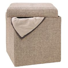 Single Collapsible Storage Ottoman - Furniture - Living