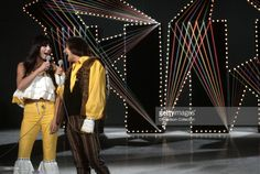 Pop duo Sonny and Cher perform on the NBC TV music show 'Hullabaloo' in September 1965 in New York City, New York.