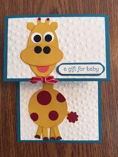 Stamp with Anna: Tri-Fold Baby Giraffe Card; punch art; baby card