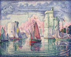 "Entrée du port de la Rochelle, 1921 | Paul Signac (1863–1935) ""..was a French Neo-Impressionist painter who, working with Georges Seurat, helped develop the Pointillist style."" -- Wikipedia"