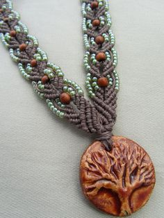 Tree of Life Macrame Hemp Necklace with Redwood and Glass - Natural Woodland Boho Hippie