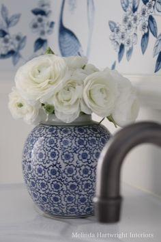 Blue and white, ginger jar, bathroom, bronze taps, Schumacher wallpaper