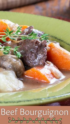 When you're craving a beefy stew full of veggies and herbs, just make our Beef Bourguignon! The French have outdone themselves with this! Dinner Menu, Dinner Table, Dinner Ideas, Fresh Vegetables, Veggies, Beef Bourguignon, French Classic, Weeknight Meals, Have Time