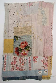 Fabulous Hand piecing of vintage textiles including a vintage needlepoint rose by textile artist Mandy Pattullo