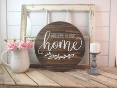 Items similar to Welcome To Our Home Round Sign, Welcome Home Farmhouse Sign, Cottage Family Serving Tray, Photo Gallery Decor, Rustic Lazy Susan on Etsy Diy Signs, Home Signs, Round Wooden Tray, Wooden Trays, Palette Deco, Wooden Wreaths, Forest Decor, Cottage Signs, Woodland Nursery Decor