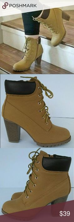 95b47d84cae 🍁Women s Low Heel Ankle Padded Boot🍁 New Lace Up Closure Side Zipper  Closure Padded Collar Gold Metal Eyelets Slightly Padded Footbed Round Toe  ...