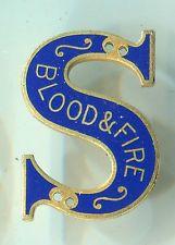 Vintage Salvation Army Blood & Fire metal sew on emblem