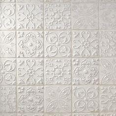 Aged White Ornato Matte Ceramic Tile - 8 x 8 - 100566215 White Tile Backsplash, Country Kitchen Backsplash, Kitchen Backplash, Backsplash Ideas, Kitchen Decor, Kitchen Design, Polished Porcelain Tiles, French Country Kitchens, Country Bathrooms