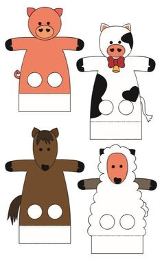 Farm Crafts, Craft Stick Crafts, Preschool Crafts, Art Drawings For Kids, Cute Drawings, Diy For Kids, Crafts For Kids, Animal Cutouts, Puppets For Kids