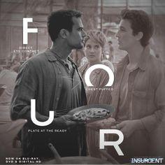 Four in Insurgent Divergent Four, Tris And Four, Divergent Trilogy, Divergent Fandom, Divergent Funny, Insurgent Movie, Divergent Insurgent Allegiant, Insurgent Quotes, Tris Prior