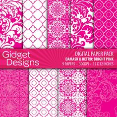 Digital Paper Pack: Damasks & Retro - Bright Pink and White