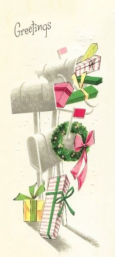 Greetings... Christmas Mail, Christmas Card Images, Vintage Christmas Images, Christmas Graphics, Christmas Post, Christmas Cards To Make, Retro Christmas, Vintage Holiday, Christmas Pictures