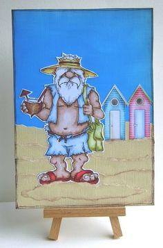 """Beach Bum Bob"" digi stamp http://www.doctor-digi.com/beach-bum-bob-digital-stamp Card by Ruth C http://tiptoptoppers.blogspot.co.uk/"