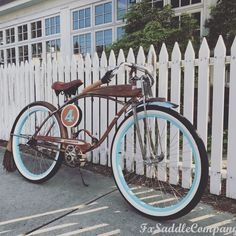 Rat rod bicycle. Add custom leather to your bike from FX Saddle Company. (Leather number plates, hand grips, seat cover, carry handle, & mud flaps all handmade for this bike by FX.)